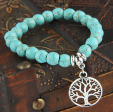 UK Silver Tree Of Life Charm Pendant Turquoise Bead Bracelet.Crystal Gemstone