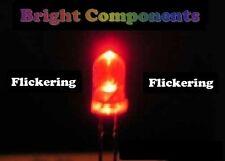 5 x rouge clignotante led 3mm-bougie/flicker effet-uk - 1st classe post