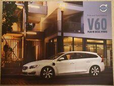 Volvo V60 Diesel Hybrid Plug in Price and Specification Brochure Very Rare