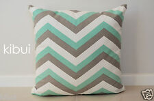 Chevron Home Decor Cushion Cover 100 Cotton Light Grey/green 45cm Kibui