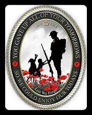 REMEMBRANCE DAY LEST WE FORGET POPPY POPPIES WORLD WAR METAL PLAQUE SIGN R41