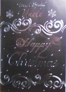 UNCLE CHRISTMAS CARD ~ Traditional Classic Black & Silver Snowflakes