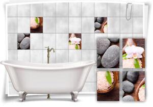 Fliesen-Aufkleber SPA Wellness Steine Orchidee Schale Salz Holz Grau Bad WC Deko