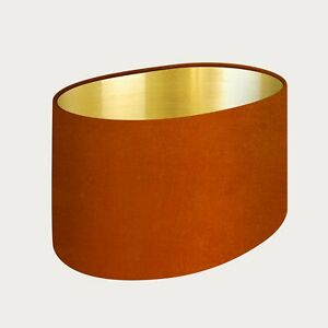** SALE  **  Oval Lampshade Burnt Orange Velvet with a Brushed Gold Lining