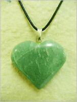 Colgante corazon de cuarzo verde, green quartz pendant.  1-62