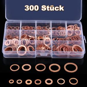 300 Kupferringe Dichtring Sortiment Set Kupfer Dichtungen Ölablaßschrauben Box