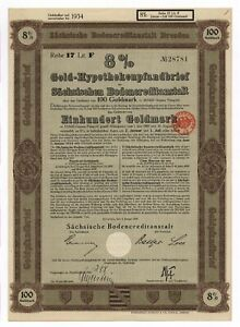 Germany, Dresden 8% Gold Bond, 100 Goldmark = 35.842 g Gold, uncancelled, 1928