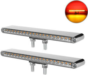 Partsam 2Pcs 12 Clear Lens Red / Amber LED Combo Dual Face Truck Semi Trailer w