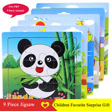 1Set 9 Piece 2-6 Years Puzzle Jigsaw Animal Blocks Childrens Kids Creative Toys