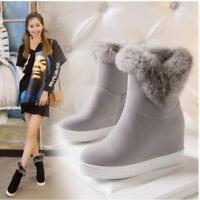 Hot Womens Hidden Wedge Heels Ankle Boots Winter Snow Boots Fur Trim Warm Casual