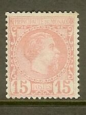 "MONACO STAMP TIMBRE N° 5 "" PRINCE CHARLES III 15c ROSE 1885 "" NEUF xx TTB SIGNE"
