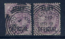 GB OFFICIAL ARMY 1900 QV 1d LILACS FU x 2...BRENTWOOD