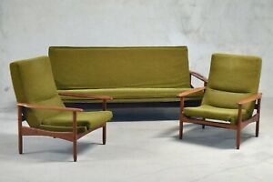 Salon Guermonprez design scandinave année 60 vintage 2 fauteuils, un canapé