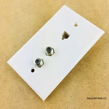 LOT OF 2- Phone and Dual Coax TV Wall Outlet Plate 4C-Steren 300-237WH White NEW