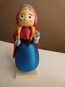 "Disney Frozen Ana Nutcracker Wooden Statue Glitter Princess Christmas 10"""