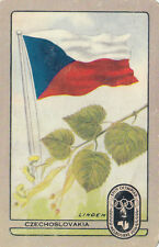 Olympic Games 1956 Melbourne swap card Czechoslovakia Linden & flag scuff & tape