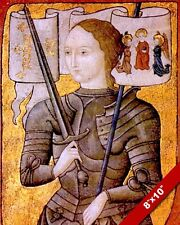 JOAN OF ARC IN ARMOR MAID OF ORLEANS FRANCE PAINTING REAL CANVAS ART PRINT