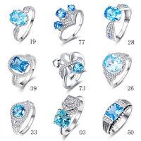 Free Jewelry Box Swiss Blue Topaz 100% 925 Sterling Silver Ring Size L½ N½ P½ R½