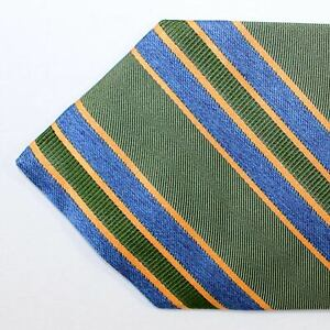 100% new LUIGI BORRELLI Elevenfold Tie Green Navy Stripes 11 Fold Necktie 200991