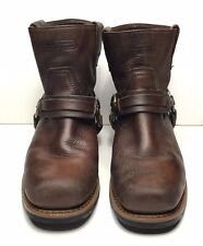 X ELEMENT Men Harness Motorcycle Square Toe Brown Boots 7 1/2 Leather Pebbled