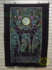 "Folk Art Decor Wall Hanging Batik Tapestry Curtain - Cocks Drum Dance 49x35"""