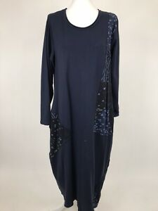 lagenlook made in italy Navy Dot Patch Tunic  Fits 10-18uk