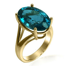 14K Solid Yellow Gold Oval Cut Genuine Blue Topaz Ring