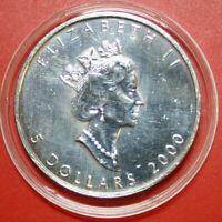 Kanada Canadian Maple Leaf 5 Dollars 2000 1 Oz/Unze KM# 363 F#2955 Privy 2000