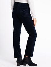 Marks & Spencer Corduroy Trousers Jeans UK Size 22 Short Navy Straight Leg