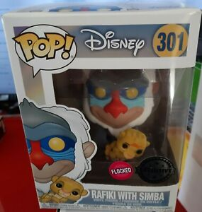 FUNKO RAFIKI WITH SIMBA FLOCKED EXCLUSIVE 301 POP DISNEY