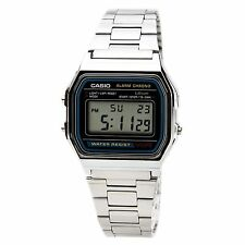 CASIO A158W-1 Classic Silver Digital Chronograph Sport Watch UNISEX