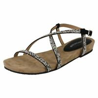 Ladies Leather Collection Diamante X Strap Sandals