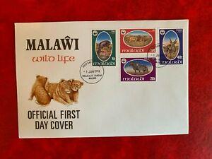 MALAWI 1978 FDC WWF WILDLIFE ZEBRA LION BIG CATS ANTELOPE REEDBUCK NYALA