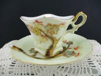Beautiful Vintage Demitasse Scalloped Cup & Saucer~Raised Gold Moraige