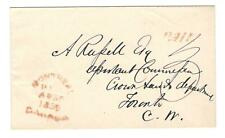 "1859 Montreal, Canada Tombstone Cxl Paid ""3"" Stampless Cover to Toronto, C.W."