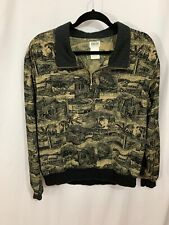 Line Up Women's Large Brown/ Black Palm Trees - Golfers Pull over Golf Jacket