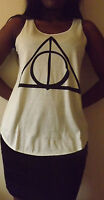 DEATHLY HALLOWS Triangle Tshirt Top HARRY POTTER WIZARD Tank T shirt Ladie Women
