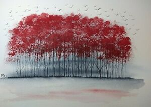 Original Watercolour painting.  Home to roost. Deep pink coppice.