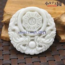 100%  Crafted carved beautiful Double Dragon Lantian white jade pendants