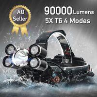 90000LM 5x T6 LED Headlamp Headlight Flashlight Head Torch Light Camping Lamp