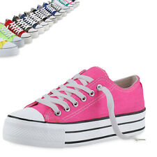Damen Plateau Sneaker Canvas Bequeme Freizeitschuhe 817580 Top