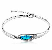 New Fashion Women Silver Plated Crystal Chain Bangle Cuff Charm Bracelet Jewelry