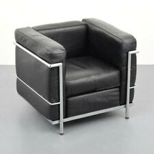 Jeanneret, Perriand & Le Corbusier Club Chair Black Leather & Chrome Mid Century