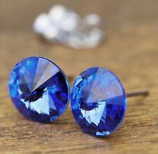 NEU Titan OHRSTECKER 10mm SWAROVSKI STEINE sapphire/blau OHRRINGE