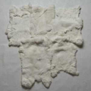 WHITE RABBIT LOT OF 5 TANNED FUR PELTS - SKINS, HIDES FOR SALE - ST6095