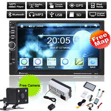 "GPS Navi 7"" Double 2Din Car Stereo MP5 Radio Player Touch Bluetooth +Camera+Map"