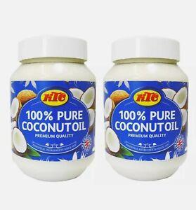 2 x 500ml Pure KTC 100% Coconut Oil Cooking Edible Hair Skin Natural Moisturiser