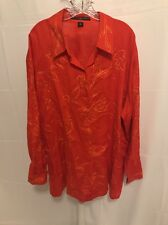 JOSEPHINE CHAUS SIZE 22 Embroidered Orange 100% Linen Shirt Button Up Plus Woman