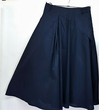 BOHEMIA OF SWEDEN LONG COTTON LINED NAVY SKIRT QUIRKY PLEATING SEMI FULL A LINE