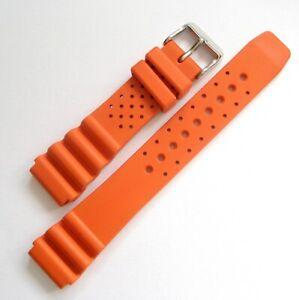 20mm Bonetto Cinturini Model 285 Orange Italian Rubber Dive Watch Band Strap